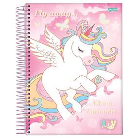 Caderno Espiral Capa Dura 10 Matérias 200 Folhas Unicórnio