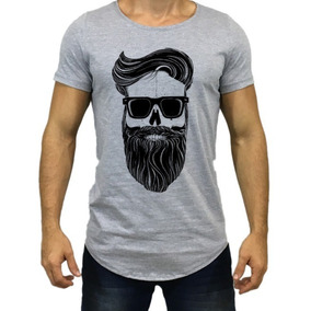 Camisa Camiseta Oversized Longline Caveira Barba Escaping