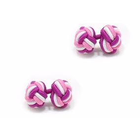 Mancuernillas De Nudo Seda Formal Rosa Blanco Fiusha A548