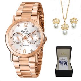 02e1de821f3 Relógio Champion Feminino Rosê Redondo Ch24759z - Relógios De Pulso ...