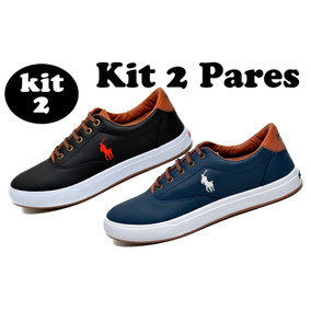Kit 2 Pares - Tenis Masculino Sapato Sapatenis Polo Way