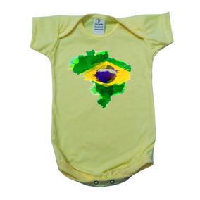 605fe4ea04 Body Bebê Infantil Amarelo Bandeira Do Brasil Copa Unissex