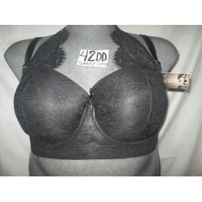 Brassier Negro Copa Preformada Encajes Talla 42dd Smart Sexy