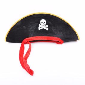 Chapéu Pirata Luxo Com Fita Vermelha Com Esqueleto Aveludado 96ad0e56137