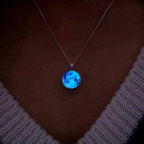10 Pz Mayoreo Collar Luna Llena Brilla Oscuridad Luminoso