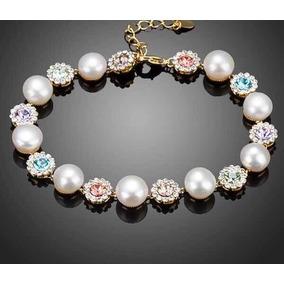 4cbfad3e3d0e Pulsera De Moda Con Perlas Y Cristales  120 en Mercado Libre México