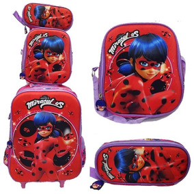 Kit Mochila Lady Bag Miraculos Rodinha Infantil Escolar