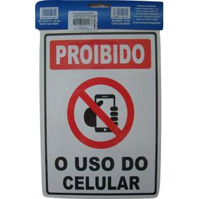 Placa Sinalizadora Proibido O Uso De Celular 14x19cm 2 Unid
