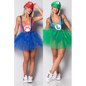 Kit 2 Fantasias Feminina Dupla Super Mario E Luigi Completa cf27ceb15db