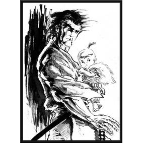 Poster Com Moldura Decorativo Lobo Solitário Manga Quadro