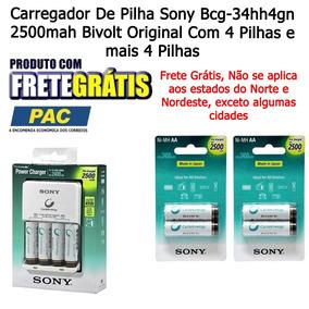 Carregador De Pilha Sony Bcg-34hh4gn 2500mah Bivolt+4 Pilhas
