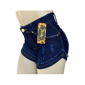 Shorts Jeans Feminino Cintura Alta Com Lycra