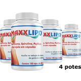 Maxx Lipo 120 Capsula 600mg Detox Emagrecedor X 4 Potes
