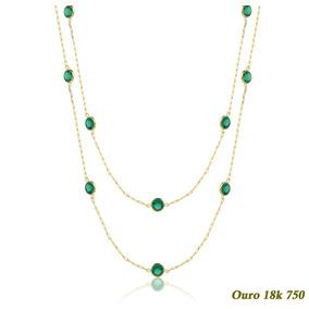 f70a1b7fa8ae7 Colar Gargantilha Ouro 18k Zirconias 60cm - Joias e Bijuterias no ...