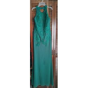 Vestido Corte Sirena Espalda Descubierta Color Verde Bandera