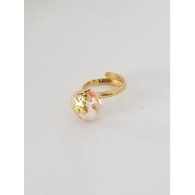 Anillo De Oso Con Cristal Rosa De Chapa De Oro 18k