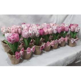 15 Vasinho Com 3 Tulipa Em Tecido Com Juta E Lacinho