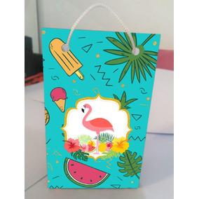 Kit Com 10 Sacolinhas Personalizadas Flamingo Tropical