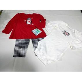 Conjunto Navideño 3 Piezas Para Bebe Niña Talla 6-9 Meses
