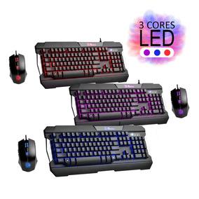 Kit Teclado Mouse Gamer Commander Tt Led Vermelho Roxo Azul
