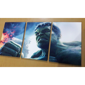 Tríptico Hulk Vengadores Marvel Cuadros (36cm X 76cm) (ii)