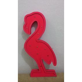 Luminária Flamingo Mdf Com Luz De Led