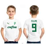 Camiseta Palmeiras Personalizada Infantil Verdão Poliester