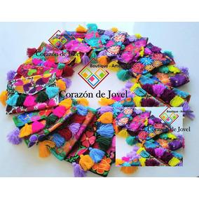 6 Bolsas/carteras/ Tipo Cluch Bordadas/ Artesanal/con Pompon