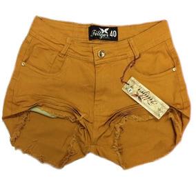 Shorts Hot Pants Caramelo Disco Cintura Alta Destroyed