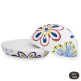 Mantequera Porcelana Decorada Flores Con Tapa