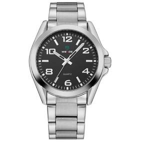 Relógio Weide Importado Prata Preto Masculino Aço Inox Promo
