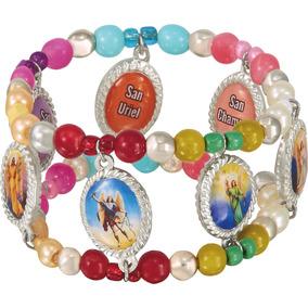 Pulsera De Eslabones Arcángeles Con Perlas De Colores