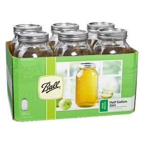 Mason Jar Ball Caja Con 6 Frascos 64oz Boca Ancha