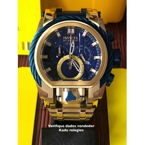 Relógio Invicta Bolt Zeus Magnum Novo Dourado Azul Kadu
