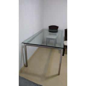 Mesa Tampo De Vidro 2x1 M - Vidro De 10mm C/ 6 Cadeiras
