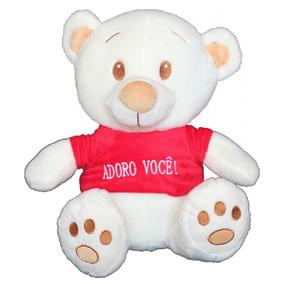 Kit Urso Sorriso Coração Dwf Toyfrase Adoro Você.