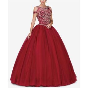 Vestido Xv Color Vino Talla Extra Grande 36/38 Nuevo