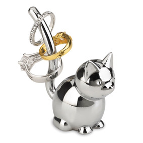 Organizador De Anillos En Forma De Gato Metálico