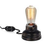 Steampunk Lámpara De Escritorio Base De Madera Tubería