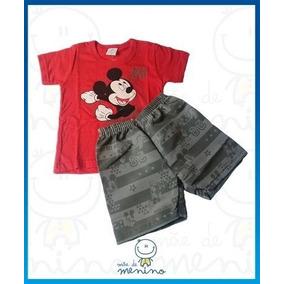 Conjunto Camiseta Malha E Bermuda Microfibra Mickey Mouse (p 281e39c2445