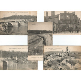 França 1914/1918 5 Cartões Postais Destruição 1ª Guerra