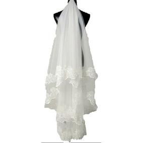 Véu De Noiva Casamento Acabamento Bordado 1,4 M