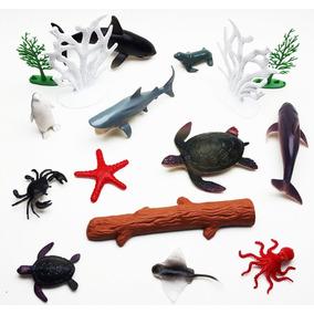 Kit 11 Animais Borracha Oceano Marinho Peixe Tubarão Baleia