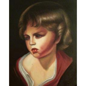 Cuadro Antiguo Oleo Retrato Arte Hecho A Mano Decoración