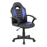 Cadeira Gamer Kids Em Couro Pu Preta/azul Pelegrin Pel-9353