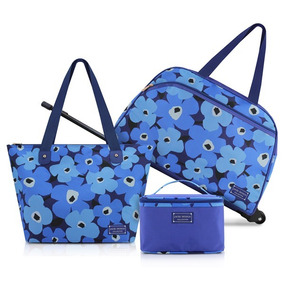 Kit Conjunto De Mala Bolsa Azul De 3 Peças Jacki Design