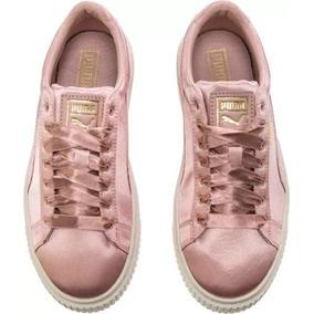 Tenis Puma Basket Platform Satin Silver Pink T.22.5(amplios)