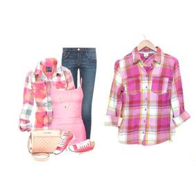 Camisa Mossimo Rosa Cuadrada Talla S Boton Manga Bazarhadasa