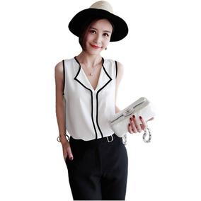 Camisa Blusa Feminina Social Casual Sem Manga Crepe 1b59288b47e30