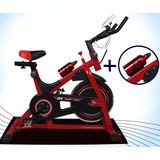 Bicicleta Spinning Profesional Reforzada Disco 13kg +botella
